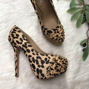 Steve Madden Leopard Calf Studded Platform Heels